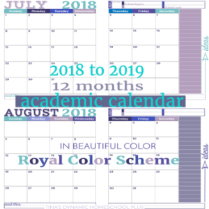 2018-2019 Academic Calendar – 2 Pages Per Month (Royal Color Scheme)