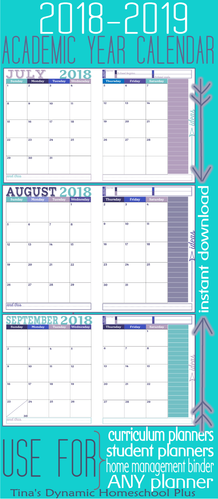 AWESOME academic calendar! Grab this beautiful and in color 2 pages per month academic calendar. You get ALL 12 months. It's academic because it begins in July when you begin homeschool planning and it ends in June. You'll love this Royal color option. Use it to begin building your 7 Step Free Homeschool Planner. CLICK HERE to grab it!