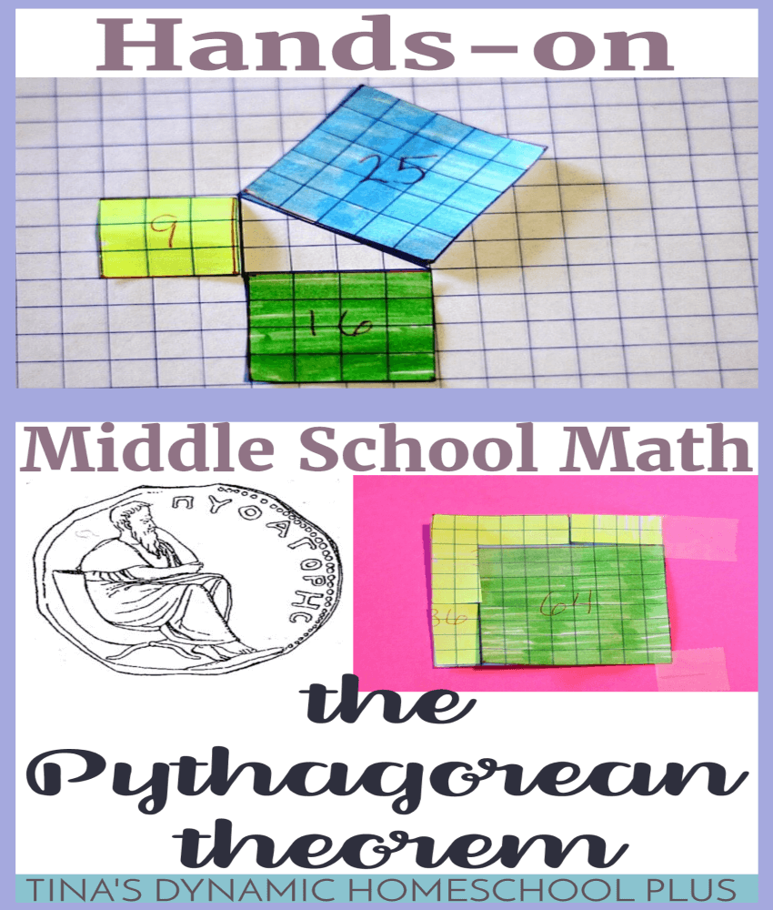 Hands-On Middle School Math: The Pythagorean Theorem. One important mathematical concept kids run into sometime in middle school or high school is the Pythagorean Theorem. Pythagoras, an ancient Greek philosopher and mathematician, who was born around 569 BCE is credited with the discovery. Click here to do this EASY hands-on activity!