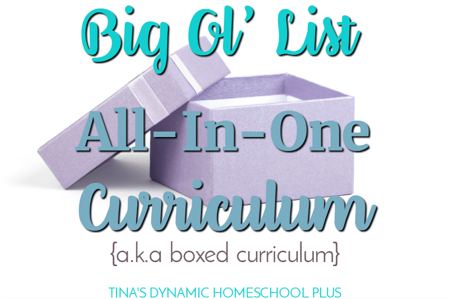 Big Ol' List of All-In-One Homeschool Curriculum (a.k.a Boxed). There are many reasons to use an all-in-one homeschool curriculum and the best reason is that all the planning is done for you. CLICK here to grab this list!