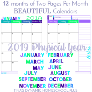 2019 Physical Year Calendar – 2 Pages Per Month (Beach Color Scheme)