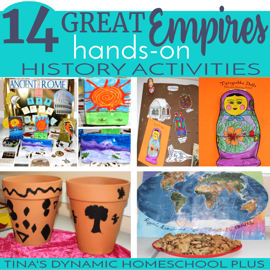 If you're wanting to breathe life into homeschool history, your kids will love these hands-on learning history activities for studying 14 Great Empires! CLICK HERE to look at these fun and engaging hands-on ideas!