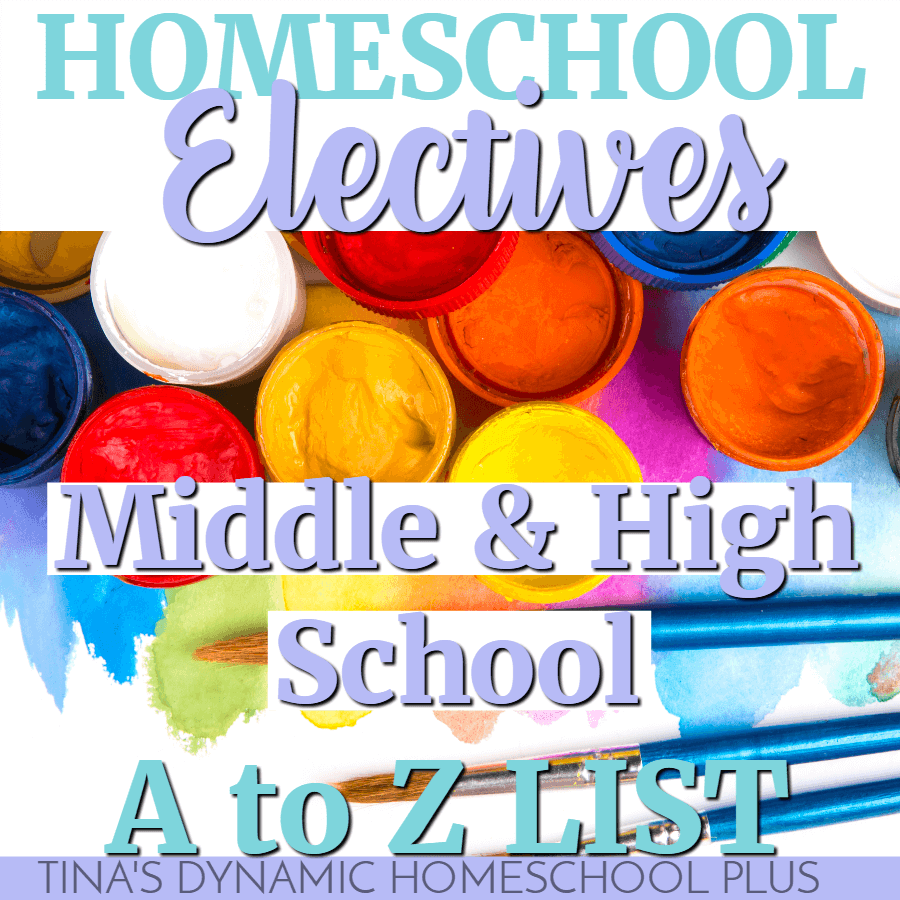 There are so many great options for middle and high school homeschool electives for teens that it can be hard to narrow down the choices. You'll love this BIG A to Z List of Homeschool Electives. CLICK HERE!!!