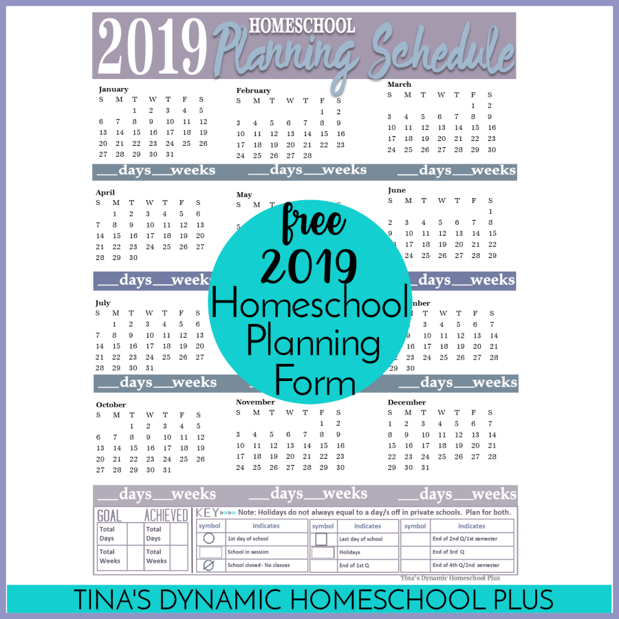 2019 Free Homeschool Planning Form Whether You Year Round Or Not