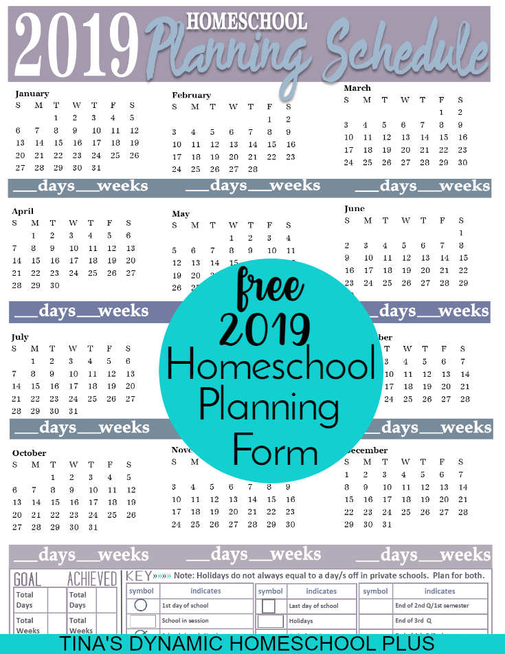 2019 Free Homeschool Planning Form! Whether you homeschool year round or not, you'll love this homeschool planning form for planning your year. Grab this form if you follow a physical year. CLICK here to grab this BEAUTIFUL colorful form!