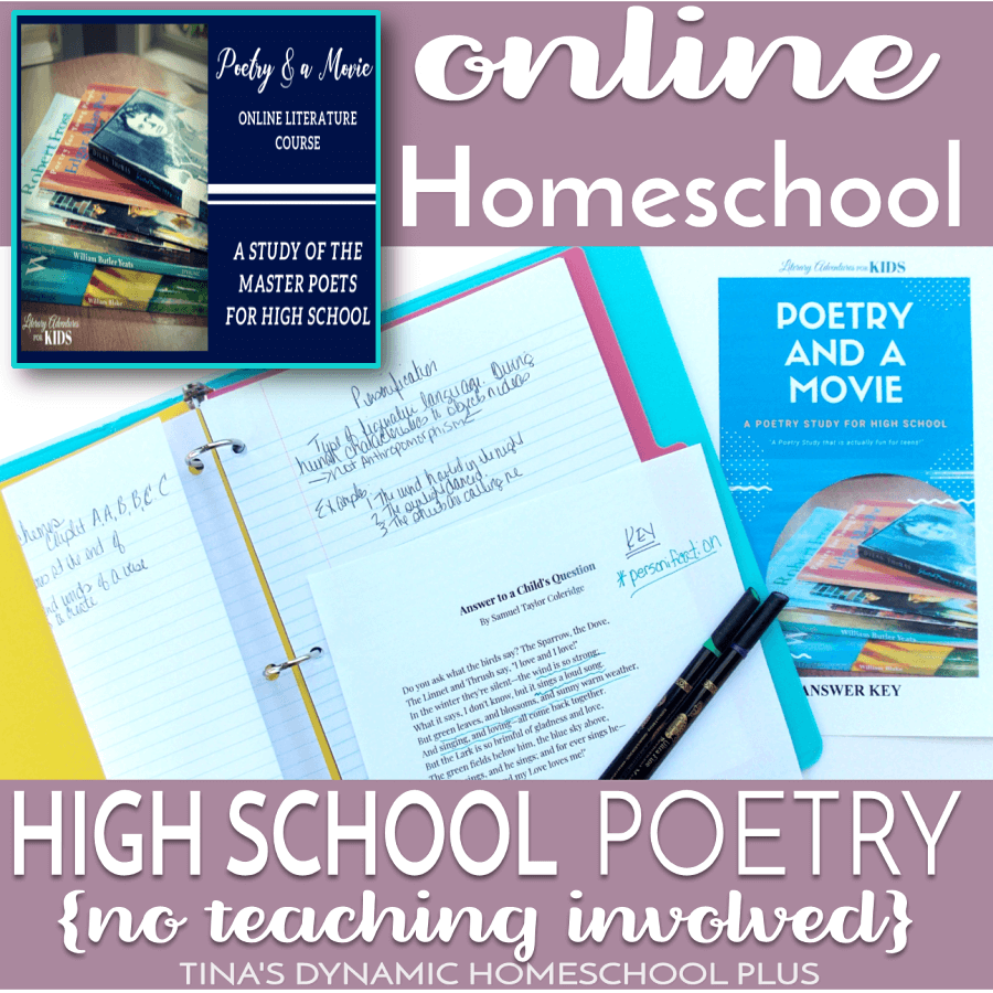 Online Homeschool High School Poetry (No Teaching Involved). When I saw that Literary Adventures for Kids had an online homeschool high school Poetry & a Movie literature course, I couldn't wait to get started on it with my third teen. Click here for this fun high school course!