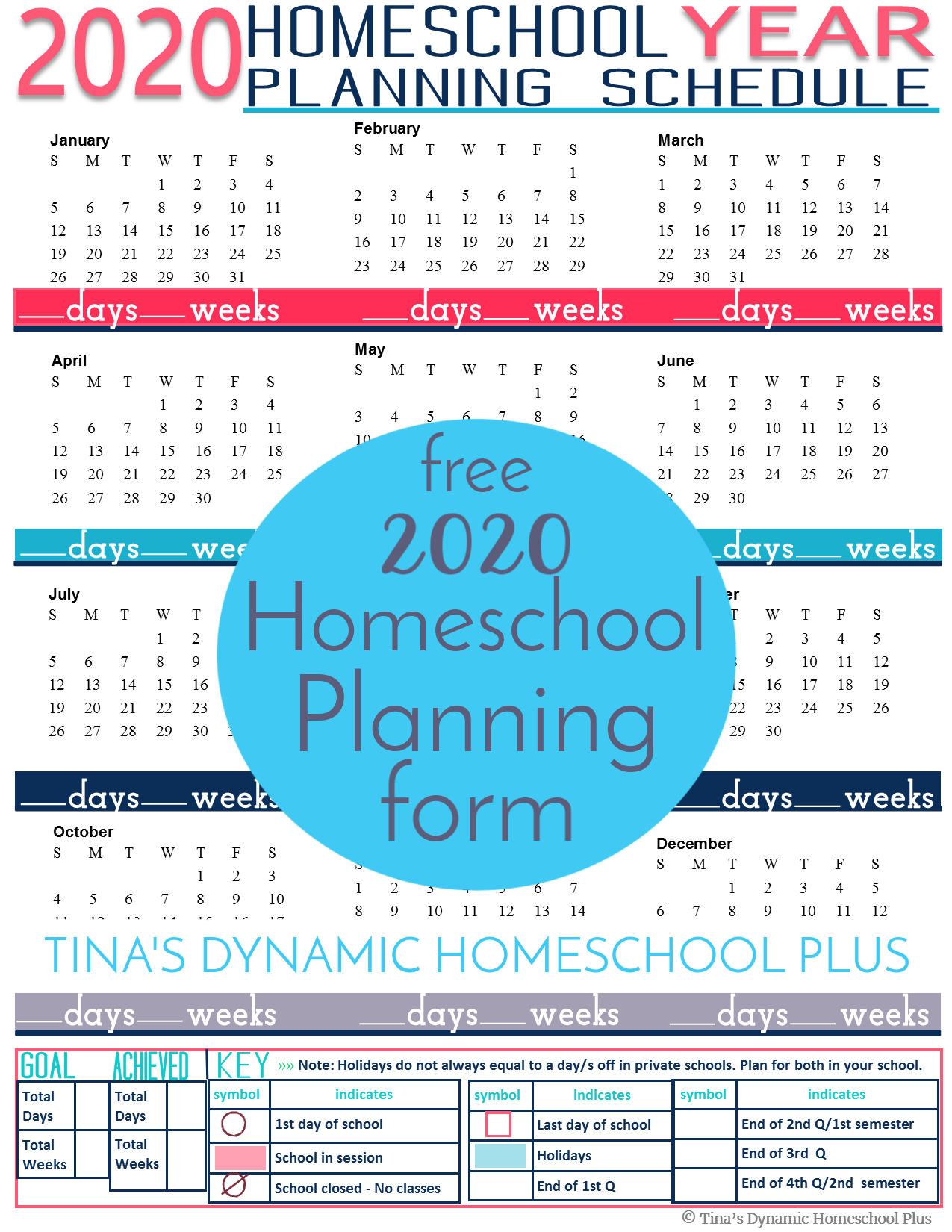 If you plan your homeschool by the physical year, grab this 2020 Homeschool Planning form. CLICK HERE to grab this AWESOME and FREE form!