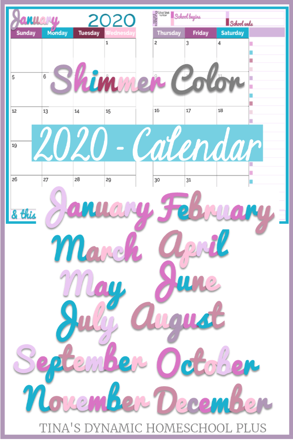 2020 Physical Year Calendar – 2 Pages Per Month (Shimmer Color Scheme). Grab this BEAUTIFUL two pages per month calendar for your printable homeschool planner, blog planner, student planner, or personal planner. CLICK HERE to grab it now!