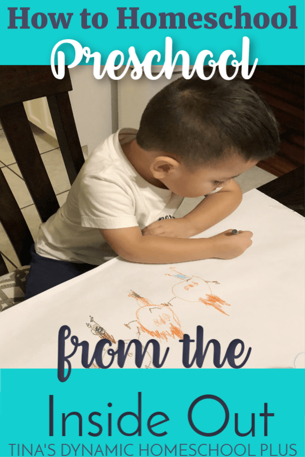 How to Teach Homeschool Preschool From the Inside Out (And Preschool Skills). What does it mean to teach homeschool preschool from the inside out? Any change or growth whether it's physical or mental starts from the root or inside and comes to the surface.  After 20+ years of homeschooling, I've come to appreciate deeply that teaching preschool is a similar approach. CLICK HERE for the tips!