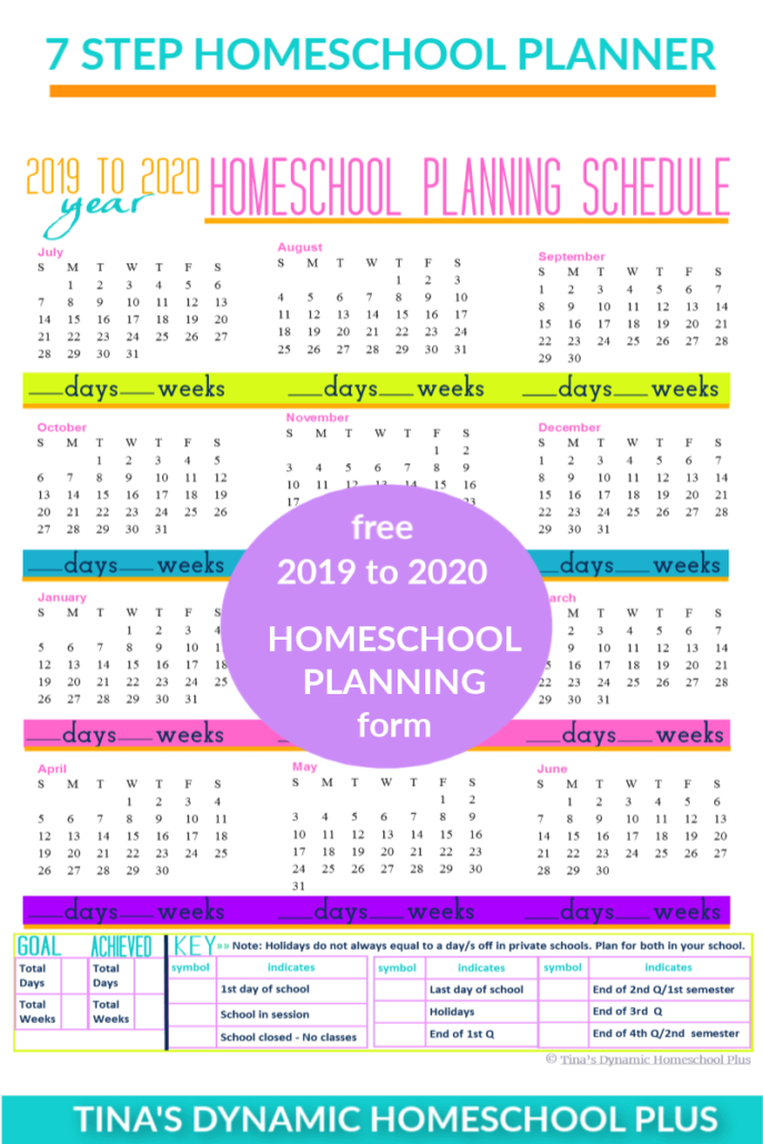 Grab this 2019 to 2020 Homeschool Planning Schedule at Tina's Dynamic Homeschool Plus
