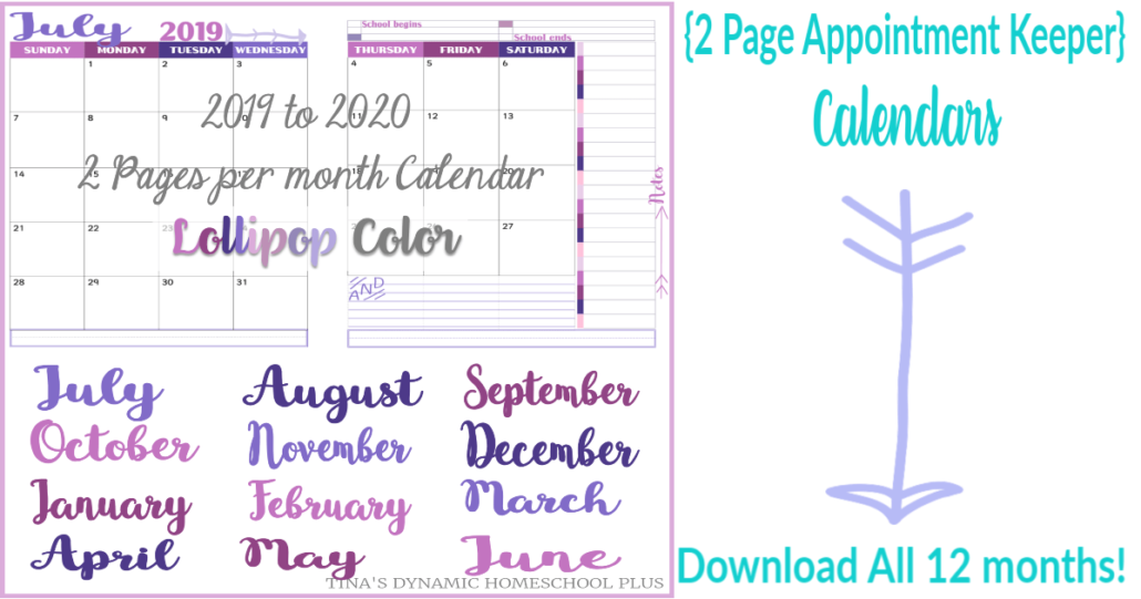 2019 to 2020 two pages per month Academic calendar for your 7 Step Homeschool Planner - Lollipop @ Tina's Dynamic Homeschool Plus