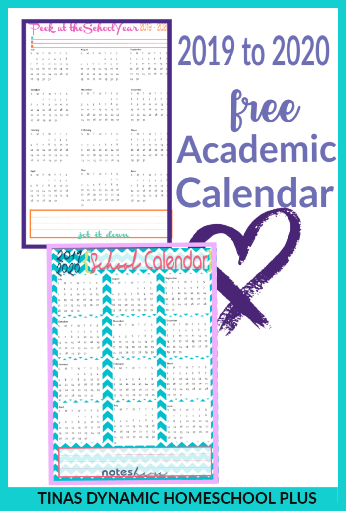 You'll love these two color choices for the 2019 to 2020 academic year calendars to add to your free 7 Step Homeschool Planner. CLICK HERE to grab these free and AWESOME calendars!