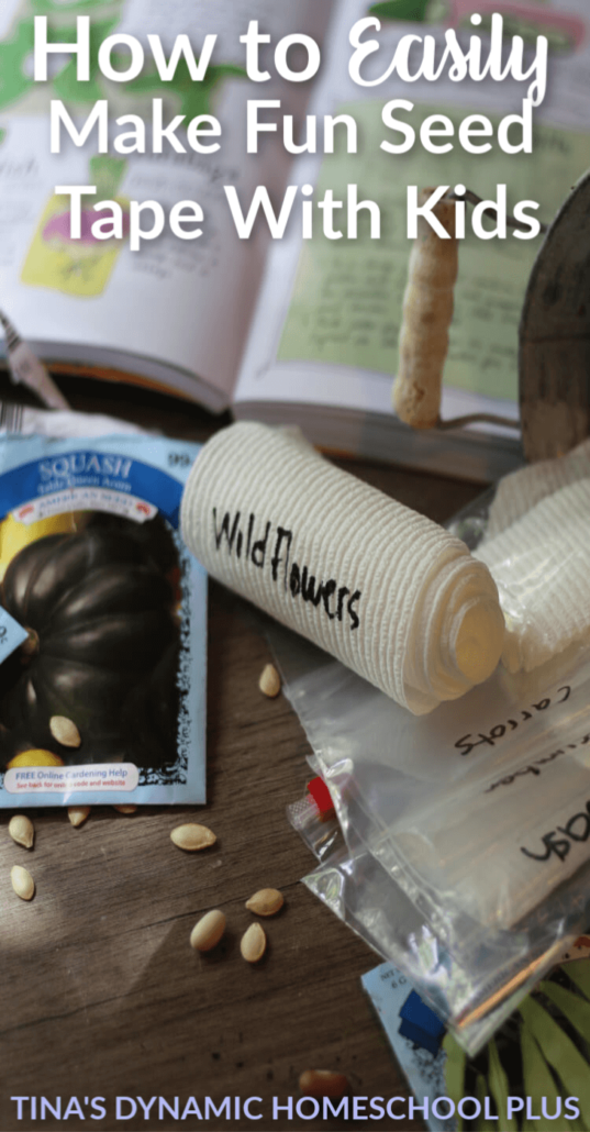 How to Easily Make Fun Seed Tape with Kids and sneak in some learning too. Check out this FUN activity over at Tina's Dynamic Homeschool Plus