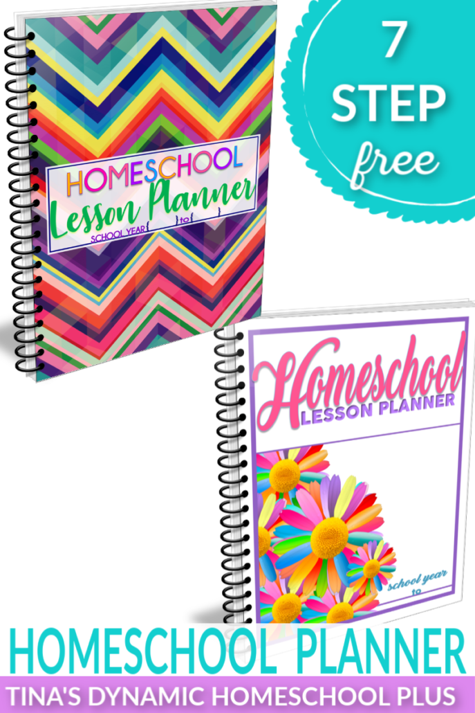 7 Step Free Homeschool Planner. Choose an AWESOME free cover and build your UNIQUE planner with hundreds of free forms at Tina's Dynamic Homeschool Plus!