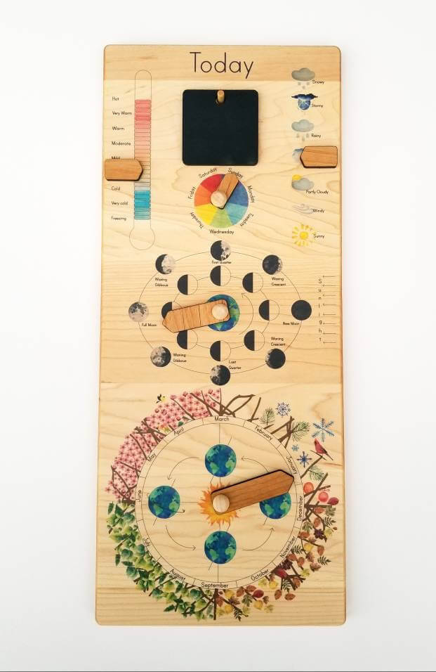 Perpetual wooden calendar which is perfect for homeschool!