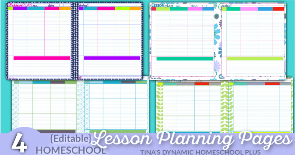 4 Beautiful and Awesome Editable Homeschool Lesson Planning Pages to Ease Homeschool Stress @ Tina's Dynamic Homeschool Plus