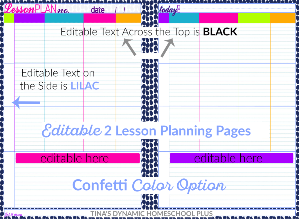 Confetti 2 Page Editable Homeschool Lesson Planning Pages @ Tina's Dynamic Homeschool Plus