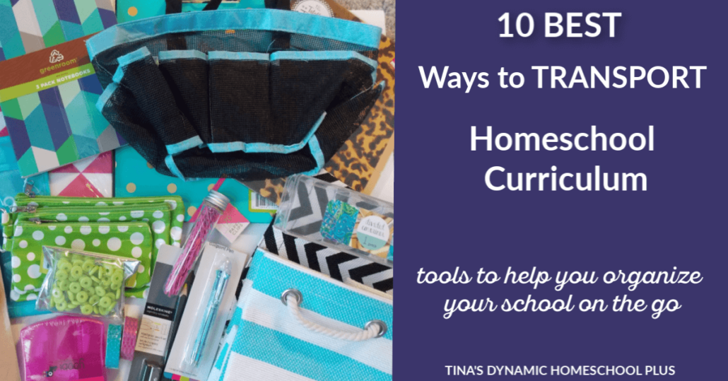 10 Best Ways to Transport Homeschool Curriculum. When learning on the go, grab one of these nifty tools for transporting homeschool curriculum @ Tina's Dynamic Homeschool Plus.
