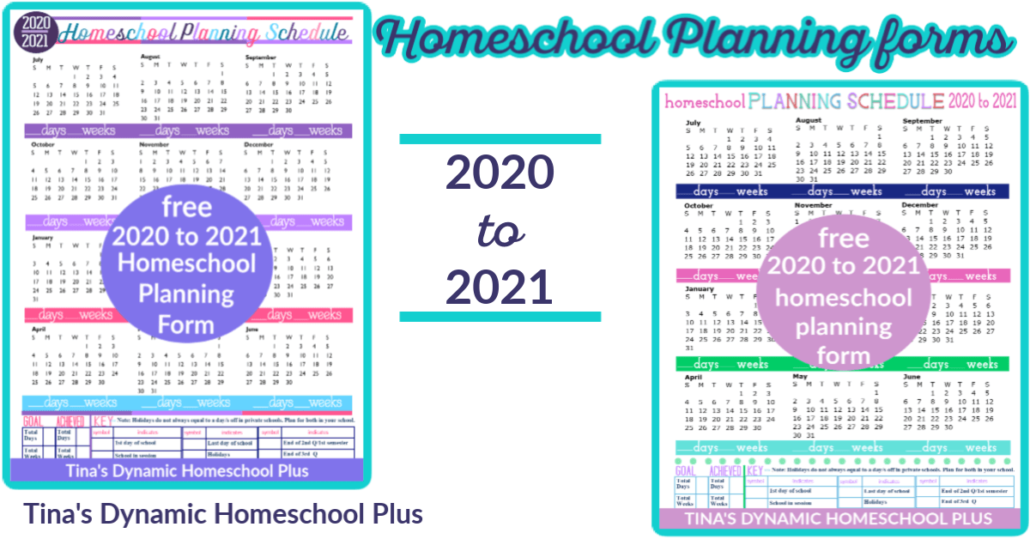 Free BEST Homeschool Planning Pages 2020 to 2021 at Tina's Dynamic Homeschool Plus
