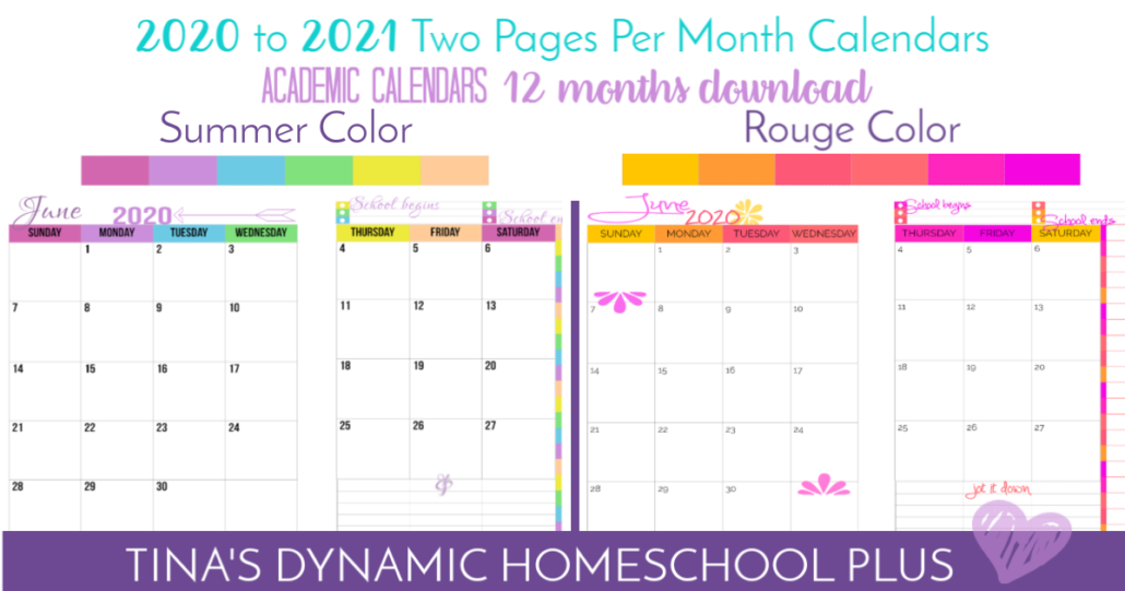 2020 to 2021 Two Page Per Month BEAUTIFUL calendars at Tina's Dynnamic Homeschool Plus