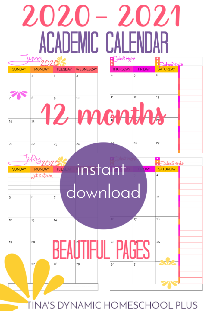 2020 to 2021 Two Pages Per month Academic calendar. GORGEOUS pages! Great for homeschool planners at Tina's Dynamic Homeschool Plus
