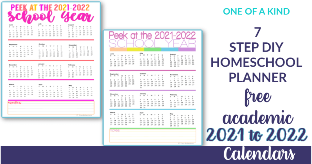 2021 to 2022 Free Academic Calendars for Your 7 Step Homeschool Planner. Begin building your planner today at Tina's Dynamic Homeschool Plus. You'll love these free academic homeschool year calendars. CLICK here to grab them! #homeschoolplanner #7stepdiyhomeschoolplanner #homeschool