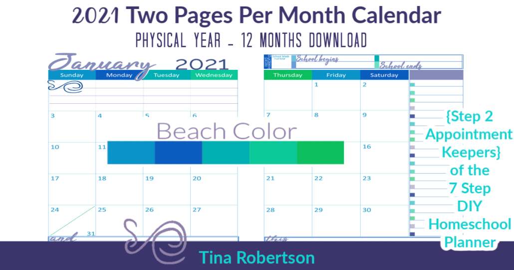 Beautiful 2021 Physical Year Calendar Two Pages Per Month