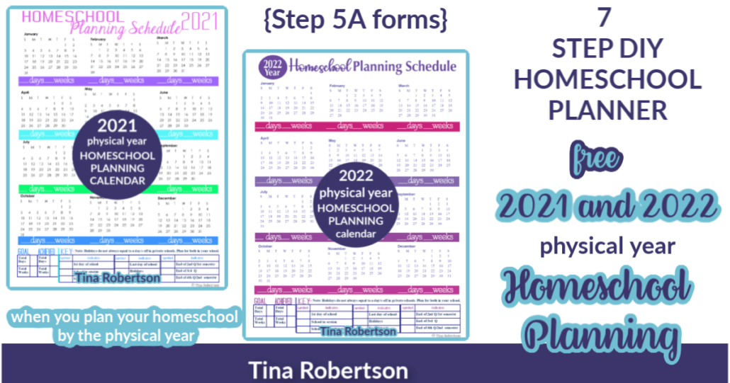 2021 and 2022 Physical Year Homeschool Planning Calendars