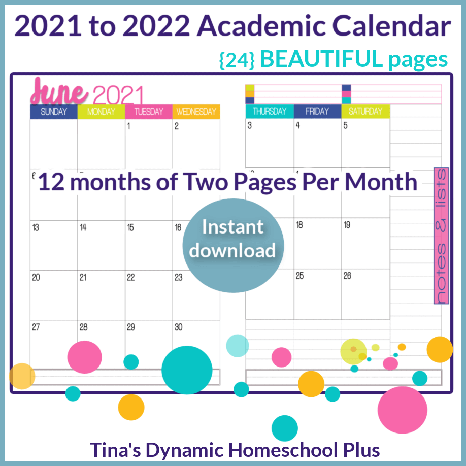 2021-2022 (2 Pages Per Month Academic Calendar) Meadow Option