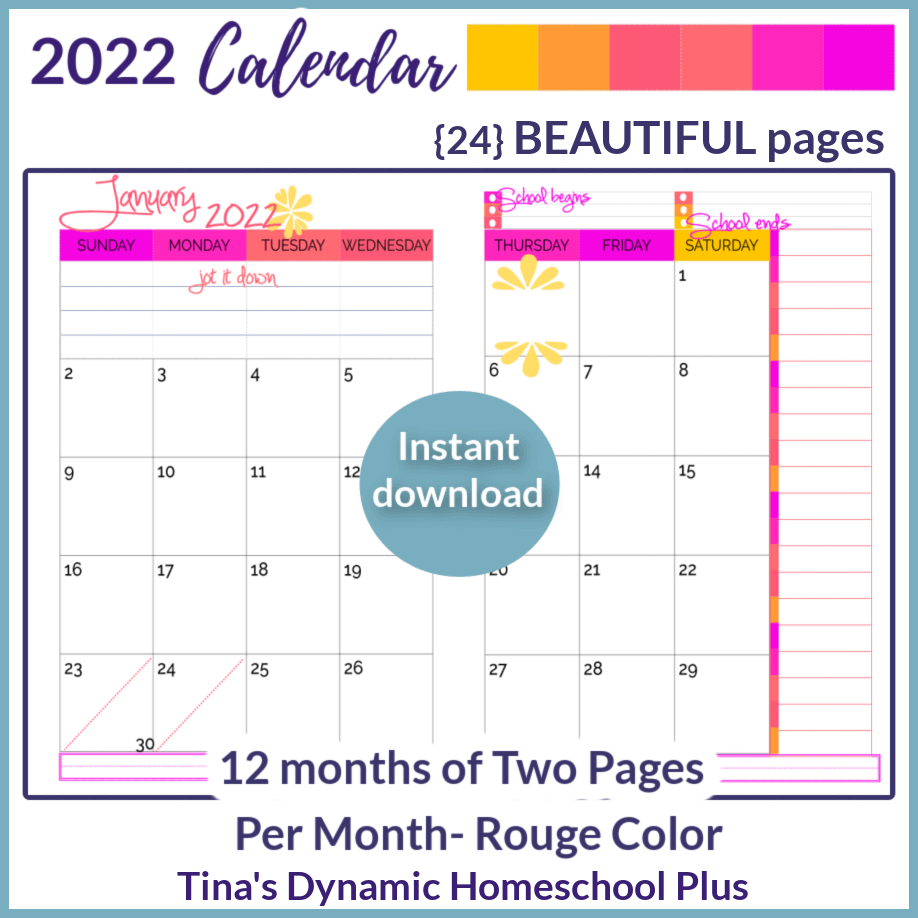 2022 (Physical Year 2 Page Monthly Calendar) Rouge Color