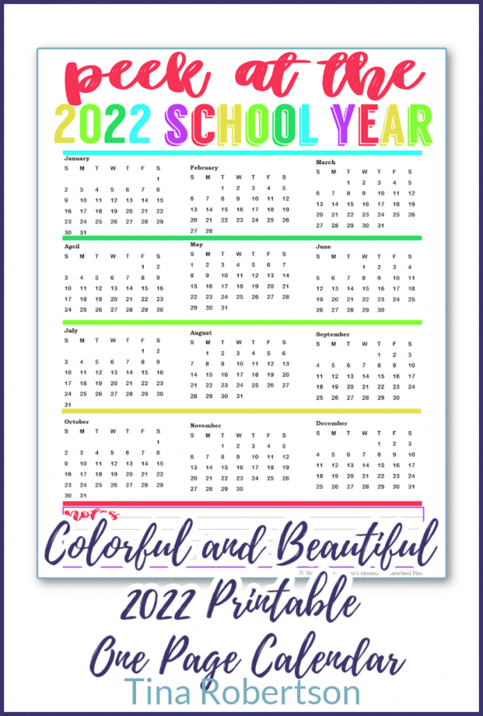 Colorful and Beautiful 2022 Printable Calendar One Page