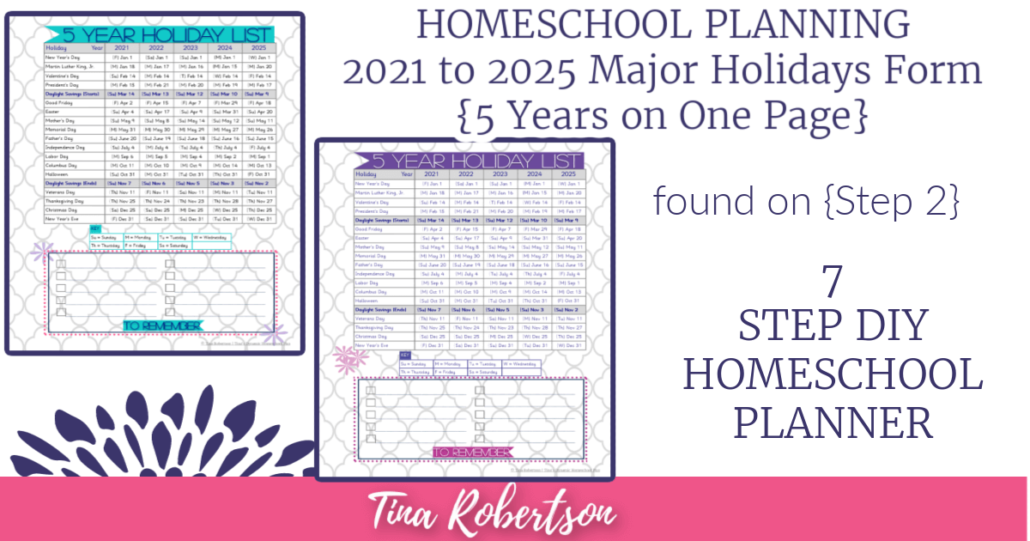 Free Form for Planning Homeschool and Holidays 2021-2025