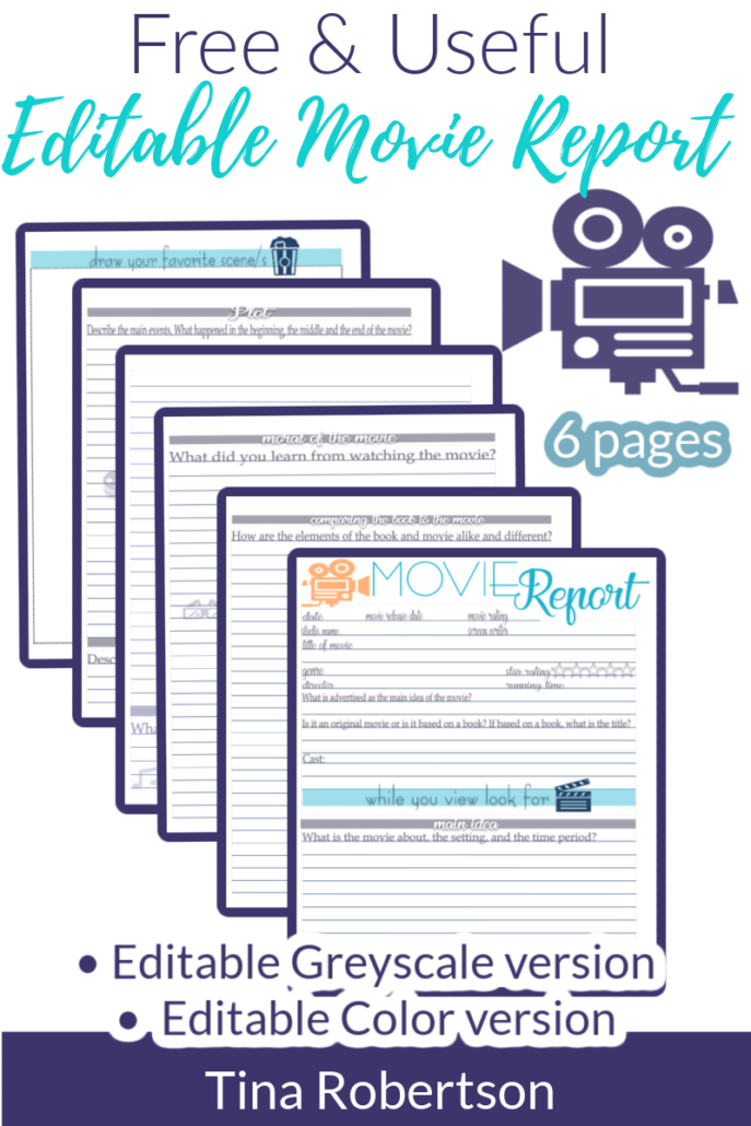 Free and Useful Editable Movie Report For Homeschool