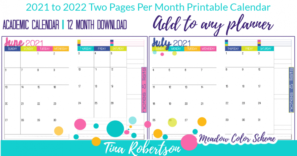 Best Printable 2021 to 2022 Academic Calendar - Meadow Color