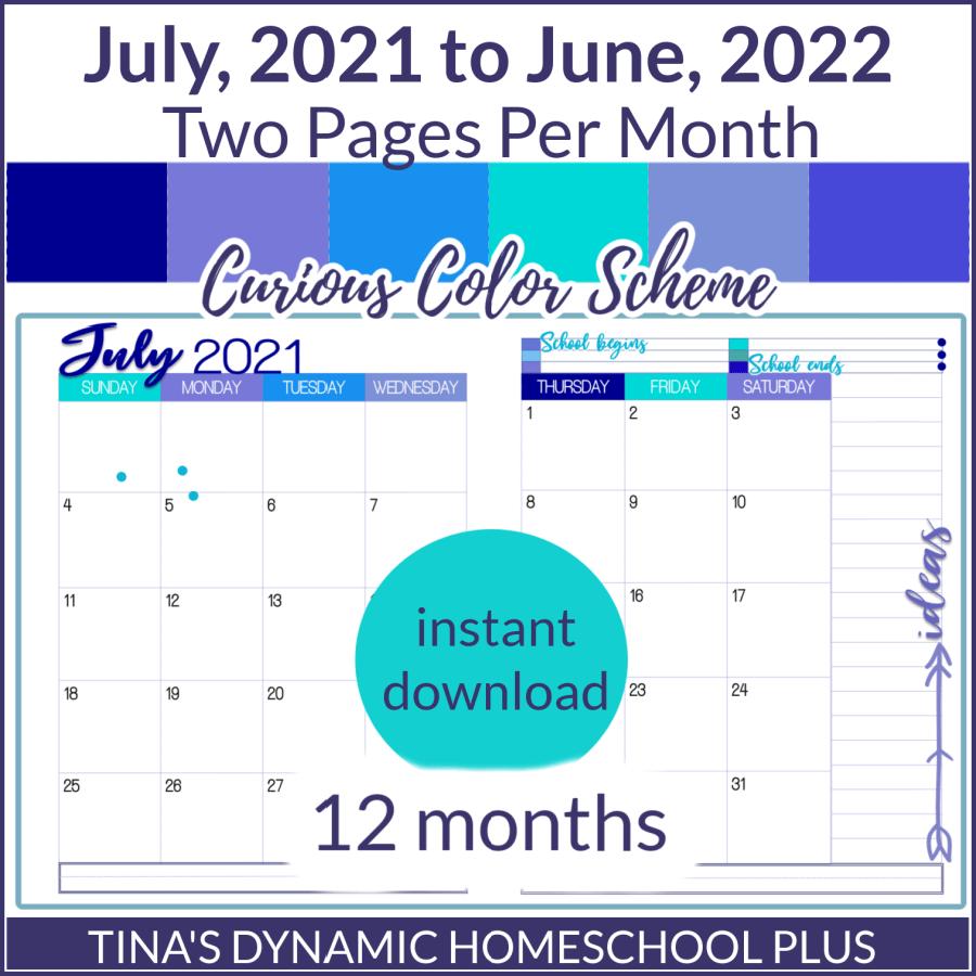 2021-2022 (2 Pages Per Month Academic Calendar) Curious Option