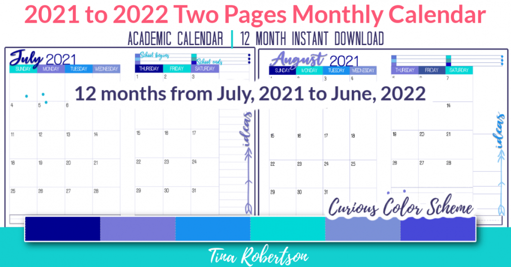 Beautiful and Colorful 2021 to 2022 Two Page Monthly Calendar Curious