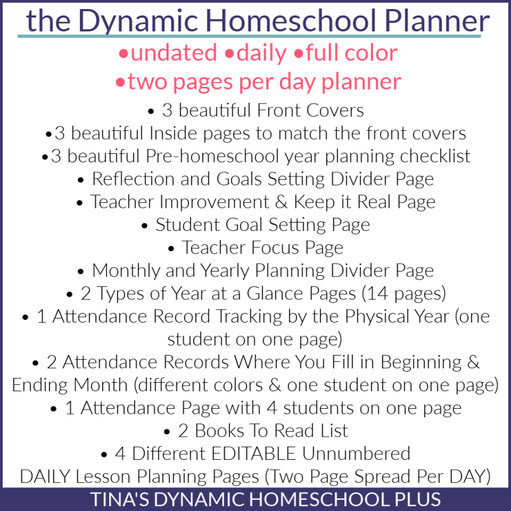 What the dynamic homeschooler planner contains