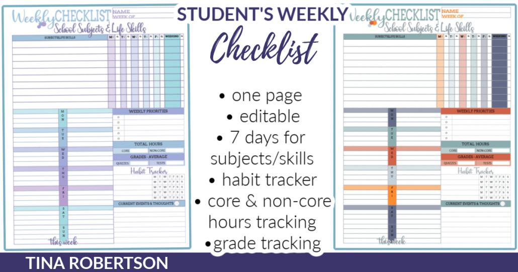 Editable and Pretty Weekly Checklist for Homeschooled Kids