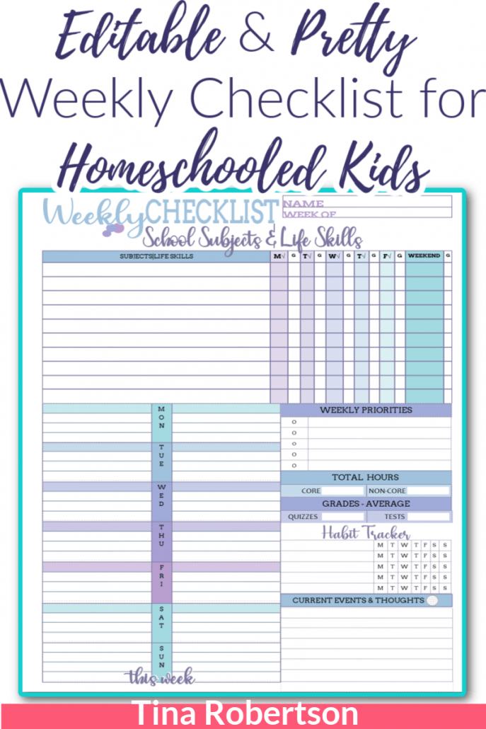 Editable and Pretty Weekly Checklist for Homeschooled Kids packs a lot of options on this one beautiful page. There are two color schemes with this one download. If you're wanting to homeschool plan skinny or are looking for another option of lesson planning page to your homeschool planner you'll love this weekly checklist for your homeschooled child. Check it out at Tina's Dynamic Homeschool Plus!