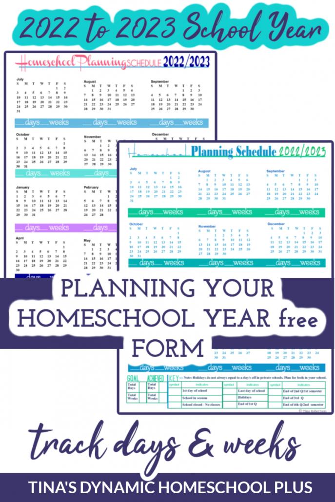 School Year 2022-2023 Homeschool Planning Schedules Beautiful Forms