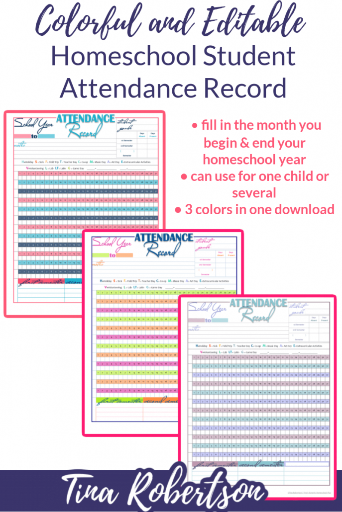 Colorful and Editable Homeschool Student Attendance Record