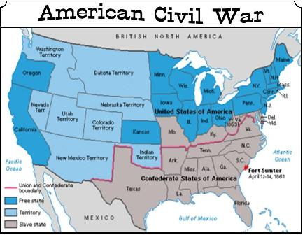 War Between The States - 1861 us map mason dixon line