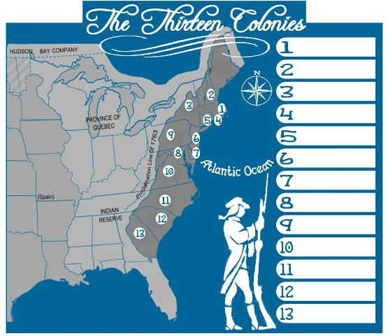 American Revolution - Us map with the 13 colonies